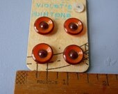 amber saucer glass/brass antique buttons