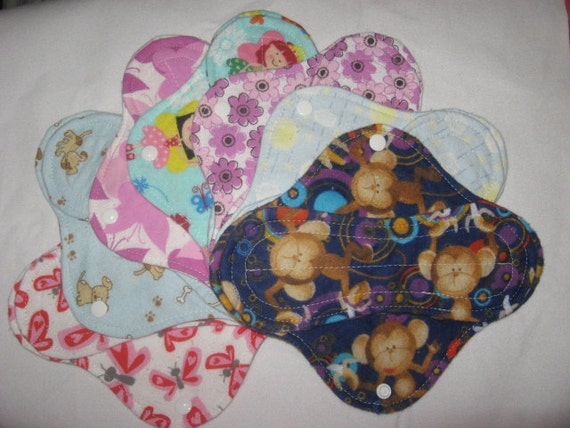 Cloth panty liners set of seven 8 inch