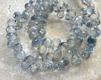 Grey Blue Mystic Quartz Faceted Briolette Beads 5.5x4mm - Half Strand 4 Inches