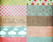 12x12 Digital Paper Collection - Little Gal - Great for Scrapbooking or Photographers - 10 .JPG Files (300dpi) - PX8008 Instant Download