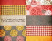 12x12 Digital Paper Collection - Blooming Summer - Great for Scrapbooking or Photographers - 10 JPG Files (300dpi) - PX8004 Instant Download