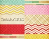 12x12 Digital Papers - Modern Whimsy Collection - For Scrapbooking or Photographers - 10 JPG Files (300dpi) - PX8010 - Instant Download