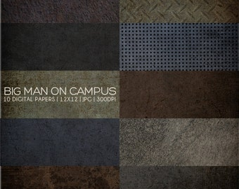12x12 Digital Paper Collection - Big Man on Campus - Great for Scrapbooking or Photographers - 10 JPG Files 300dpi - PX8002 Instant Download