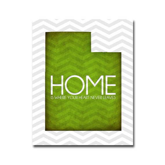 Utah HOME - 8x10 Digital Art Printable (300 dpi .JPG to Print On Your Own) You Choose the COLOR