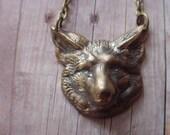 Fox Head Pendant  Woodland Necklace  Autumn Forest  Fairy Tale  Nursery Rhyme  Antiqued Brass  Gift Box