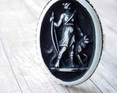 Black and White Cameo Diana the Huntress Vintage Cabochon Adjustable Brass ring base