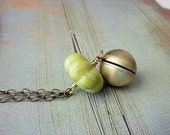 Ball Locket Pendant Necklace Brass Ball with Chartreuse Green Lime Green Carved Agate Melon Bead Secret Hiding Place