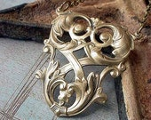 Nouveau Scroll Necklace Gold Brass Boho Bohemian Pendant under 25