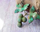 Blackberry Raspberry Pendant Berry Necklace Verdigris Patina Brass Berries