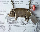 Butchered Pork Necklace Pig and Butcher Knife Pendant with Slice o' Ham Kitchen Gift for Foodie, Cook or BBQ Lover