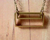 Geometric Pendant Rectangles Industrial Brass Necklace