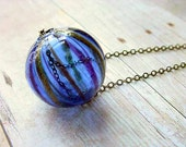 Cobalt Blue Glass Pendant Hollow Float Bead Orb Necklace Striped Gold Glitter Unique Gift Box