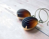 Topaz and Gold Earrings Vintage Frosted Melon Glass Dangles Amber Brown Brass Gift Box
