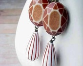 Geometric Earrings Brown and White Stripe Faceted Dangles Retro Modern OOAK Gift Box