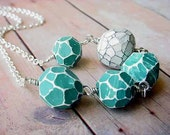 Turquoise and White Necklace Geometric Faceted Rock Fragments Polymer Clay Beads on Silver Chain