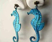 "Seahorse Earrings Patina Turquoise Ocean Blue with White ""Coral"" Dangles Sea Nautical Gift Box"