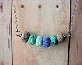 Ocean Sprites Lampwork Glass Necklace in Earthy Rustic Teal Blue, Aqua Green, Cobalt Blue, Turquoise and Sand Beads Gift Box