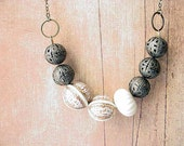 Neutrals Necklace Retro Boho with Vintage Ivory and Gold Lucite Beads and Filigree Antiqued Brass Beads Spring Fashion