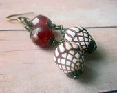 Acorn Earrings with Faceted Carnelian Gemstone Beads Woodland Dangles Brown Rust Cream Gift Box