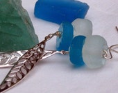 Sea Glass Earrings  Silver Feather Dangles  Recycled Blue and Frosted Clear Glass Beads