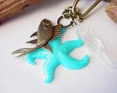 Starfish Keychain Brass Fish Seahorse Sea Star Keys Purse Charm Nautical Unisex