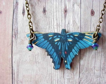 Blue Butterfly Pendant Cobalt Blue Butterfly Necklace Midnight Blue