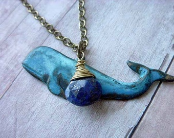 Blue Whale Pendant, Nautical Ocean Sea Life Necklace, Gold Brass Wire Wrapped Gemstone,  Lapis Lazuli Briolette Gift Box