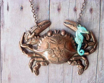 Crab Necklace Bronze Nautical Crab Pendant with Seahorse Aqua Patina