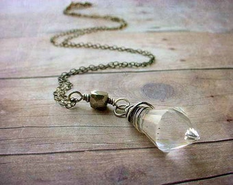 Crystal Pendant,Sterling silver, wire Wrapped, Sparkling Prism, Pyrite necklace, oxidized