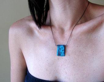 Ceramic Sea Spikes, Modern Necklace,  Teal Blue-Green, Cobalt Blue, Verdigris Green, Turquoise Green, Aqua, Silver