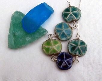 Starfish Necklace Ceramic Raku Sea Star Beads in Ocean Hues - Teal Blue, Aquamarine, Peridot Green, Sodalite Blue, on Sterling Silver