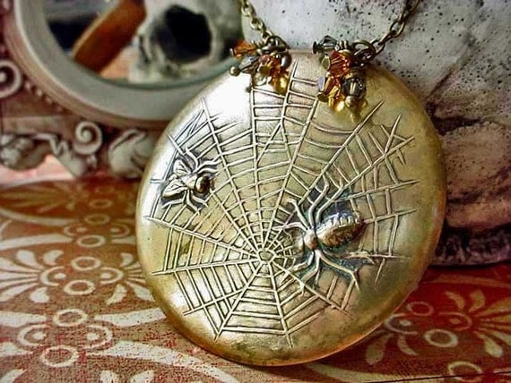 Spider and the Fly Pendant Gothic Brass Spiderweb Necklace