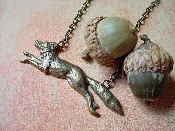 Running Fox Necklace Woodland Brass Pendant  Fall Fashion, Autumn  Gift Box