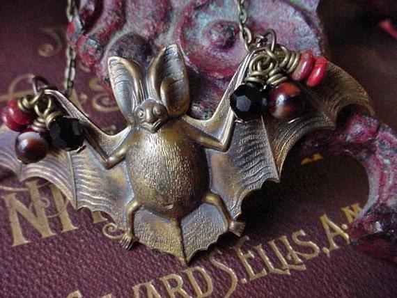 Vampire Bat Necklace - Dracula - Halloween Necklace - Gothic, Steampunk, Victorian