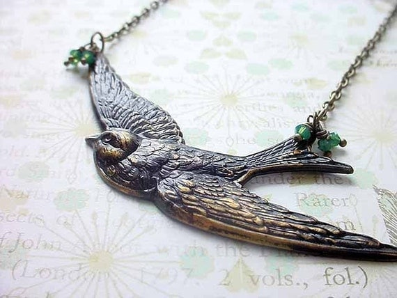 Soaring Bird Necklace - Antiqued Brass Sparrow Pendant - Fairy Tale, Nursery Rhyme - Green Dangles Under 25  Gift Box