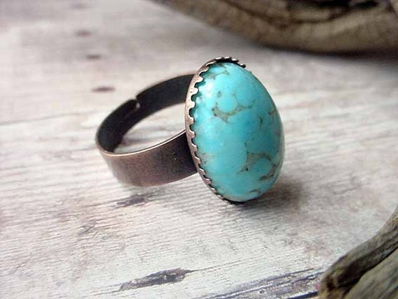Robins Egg Blue Adjustable Ring Vintage Cabochon Antiqued Brass Spring Fashion Gift Box