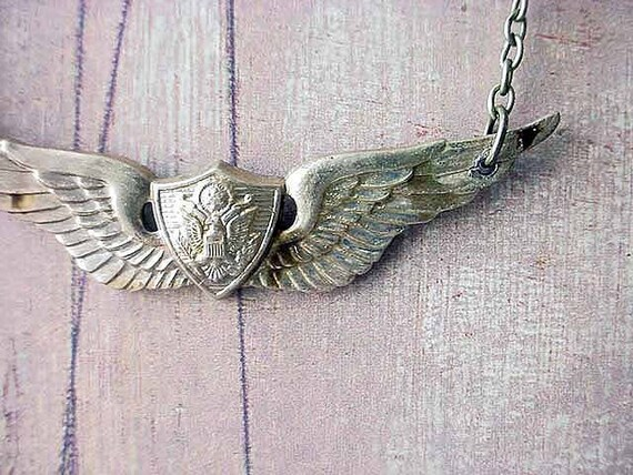 Military Unisex Pendant Brass Army Wings Necklace Gift for Him or Her Under 25