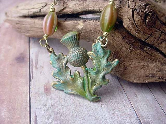 Thistle Necklace - Green Spring Pendant - Verdigris Patina on Brass - gift Box