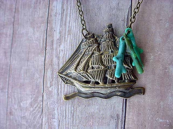 Nautical Pendant Sailing Ship Necklace Antiqued Brass Boat on Sea Ocean