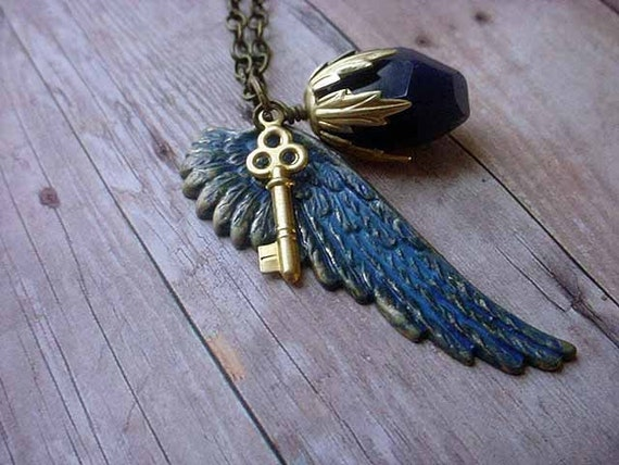 Ocean Blue Wing Pendant Gold Key with Blue Chalcedony Hand Patina Gift Box