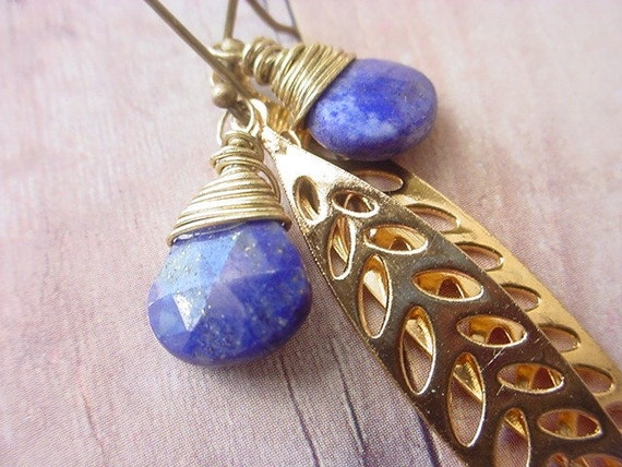 Blue Sodalite Briolette Earrings Gemstone with Gold Brass Leaves Dangles Gift for Her Gift Box