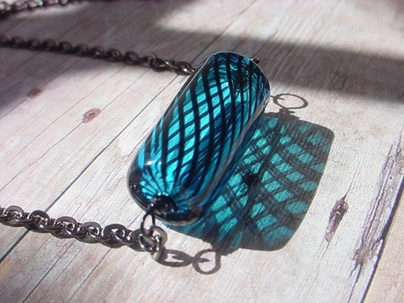 Teal Blue Glass Tube Necklace Lampworked Glass Pendant Black Gunmetal gift for her Under 25