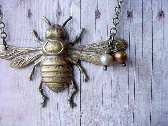 Honey Bee Necklace - Pollinator Pendant - Antiqued Brass with Pearls - Bumble Bee, Woodland - Gift Box