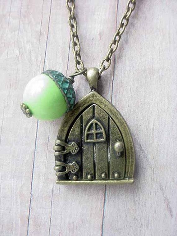 Secret Fairy Door Locket with Acorn Woodland Pendant Forest Green