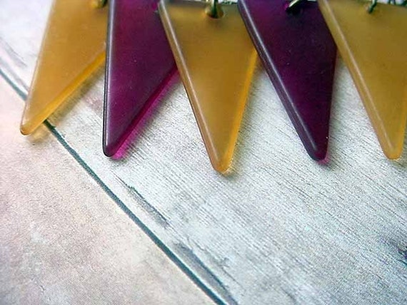 Black Friday Cyber Monday Pennant Necklace Geometric Triangles Mustard Eggplant