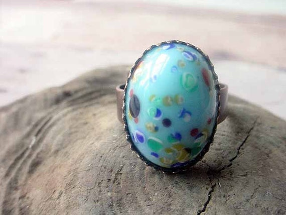 Turquoise Blue Millefiori Adjustable Ring Candy Sprinkes - Under 10 - Free Shipping - Stocking Stuffer