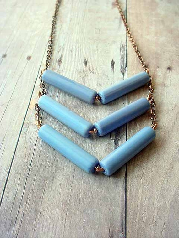Tribal Necklace Sky Blue Rustic Chevron Spring Fashion Gift Box