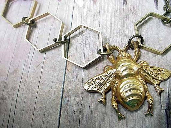 Honey Bee Hexagon Geometric Necklace Gold Bee Hive Gift Box Entomologist Naturalist