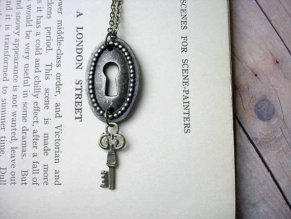 Keyhole Lock and Key Brass Steampunk Pendant Gift for Her Under 10