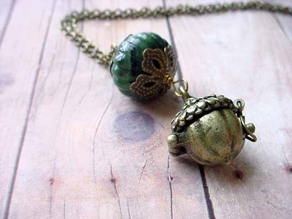 Acorn Locket Pendant Woodland Necklace Forest Green Secret Hiding Place Gift for Her